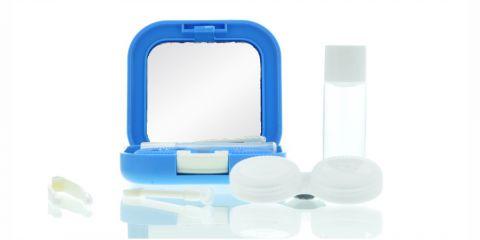 Reiseetui Kontaktlinsenbox blau