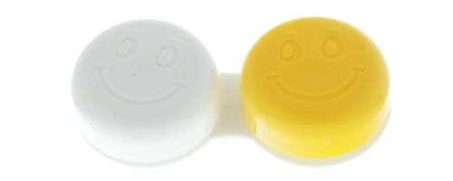 Kontaktlinsenbehälter Smiley gelb