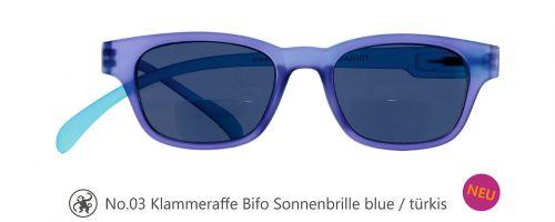 Lesebrille No.03 Klammeraffe Sonnenbrille Bifokal blue/türkis