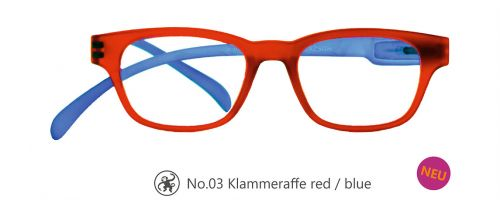 Lesebrille No.03 Klammeraffe red/blue